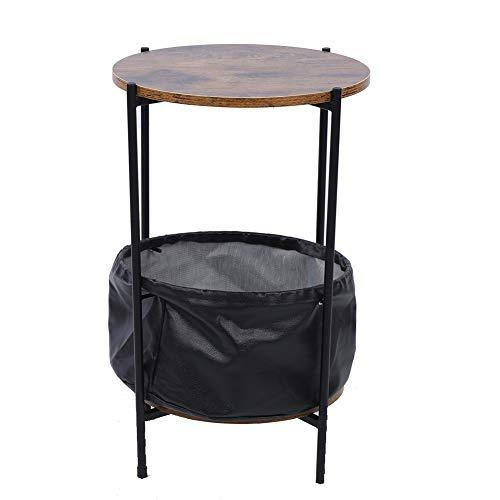 Ejoyous Table d'Appoint Table de Chevet Style Industriel, Bout de Canapé Rond avec Panier de Rangement Table Basse Vintage en Métal Idéal pour Salon Chambre à Coucher Café 59,8 x 32,7 cm
