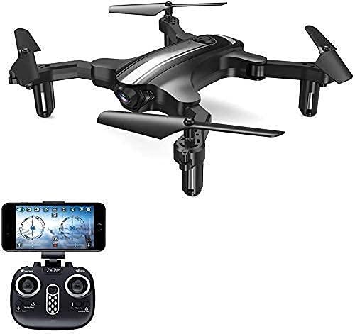 Mini Drone quadricottero telecomandato con videocamera HD WiFi FPV modalità Senza Testa ad Altezza mantenuta Pieghevole Doppio Controllo RTF a Lunga Durata per Principianti Nero