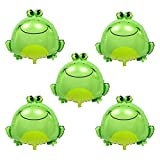 HORUIUS Frog Balloons Green Large Inflatable Air Cute Frog Foil Mylar Balloons for Baby Shower Insect Animal Themed Party Birthday Decoration Supplies 25.6 inch 5PCS