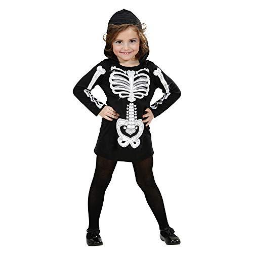 WIDMANN 2848K - Costume da scheletro Bambina, abito con cappuccio, Taglia: 110/116 cm, modelli assortiti