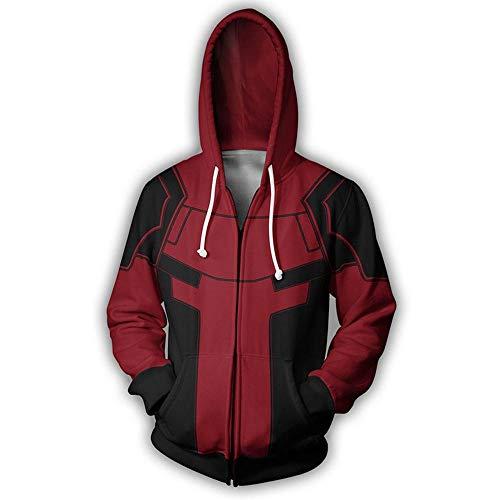 Sport Hoodie Zipper Sweatshirt -Männer ReißverschlussHoodie 3D Deadpool Printed Jacke Sport Und Freizeit Sweatshirt Langarm-Kapuzen - Gift Persönlichkeit Black and Red-XXXXL