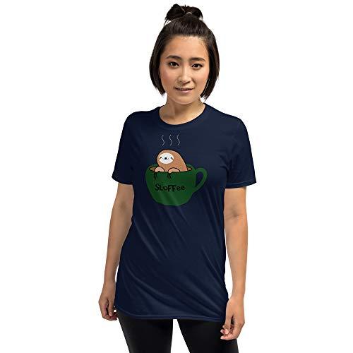 Sloffee   Uniseks T-shirt   Leuke luiaard in een koffiekopje   Luiaard Ventilator Shirt   Voor cafeïnejunkies Ochtendrompkoffiedrinker  
