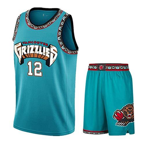 Zyf Basketball Trikot Ja Morant 12# Jersey-Satz, Kühl Und Atmungsaktiv Gestickte Basketball-Hemd, Gestickte Sport Ärmel T-Shirt + Shorts XS-XXL (Size : L)
