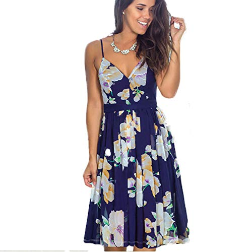 Damen Kleider Boho Sommerkleid V-Ausschnitt Maxikleid Kurzarm Strandkleid Lang mit Schlitz,H,M