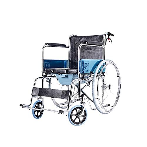 YDHNB Silla De Ruedas Plegable para Ancianos Y Minuválidos Cochecito De Galvanoplastia de Tubos de Acero Auto Propulsado Asistidas Transporte De Viaje Asiento