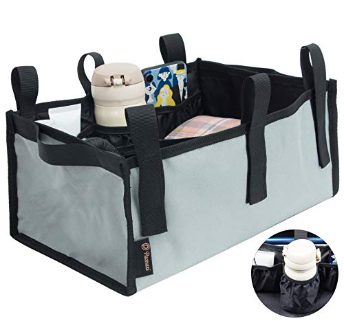 Walker Bag Under Seat Rollator Bag, Rollator Walker Accessories Tote Bag for Under Seat with Bottle Pouch, Large Capacity Rollator Accessories Under Seat Storage Bag (Grey)