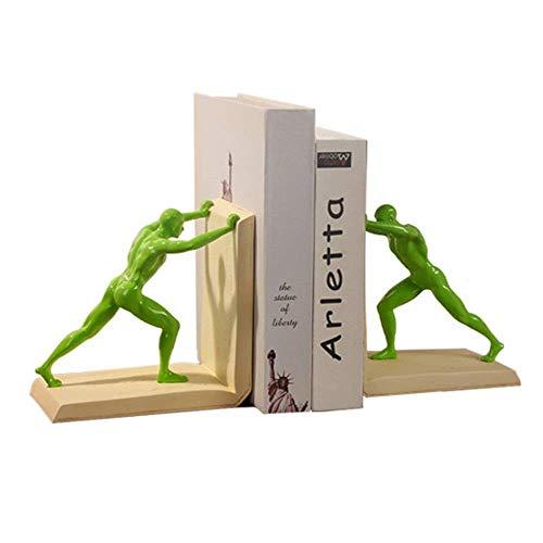 XLL Deko Buchstützen 1 Paar Desktop Buchstützen Hercules Muster Design dekorative Harz Buchstützen Unterstützung für Regal für Home Office (Farbe: Schwarz, Größe: Einheitsgröße), grün, Free Size