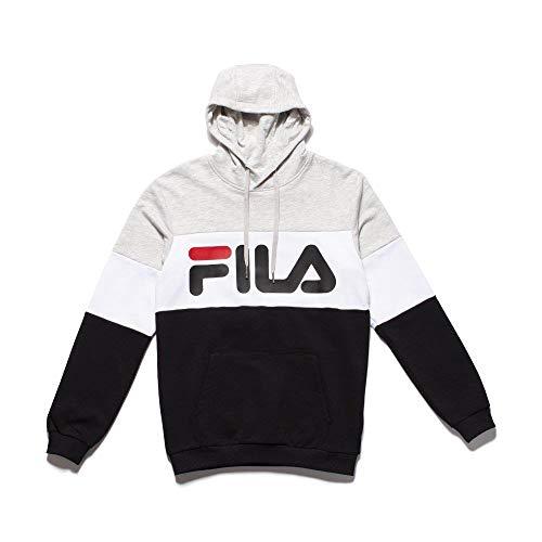 Fila Felpa Night Uomo Grigionero con Cappuccio Tricolor e Stampa con Logo 688051A220 L