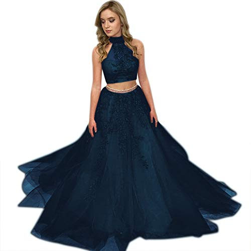 ElenaDressy Women's Two Piece High Neck Appliques Tulle Prom Dress Evening Gowns,Navy 4