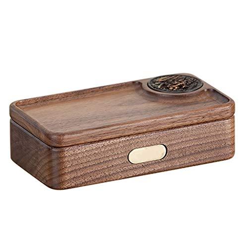 Jewelry Box Joyero Portátil Mini Caja De Almacenamiento De Joyería Pequeña Exquisita Filete con Tapa Joyero Cumpleaños De Boda (Color : Brown, Size : 13×7×3.7cm)