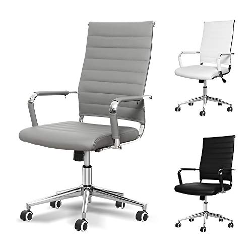 Okeysen Office Desk Chair, Ergonomic Leather Executive Conference Computer Chair, Modern Ribbed, Height Adjustable Tilt, Upgraded Seat with Arm PU Wrap, Swivel Rolling Chair. (Grey)