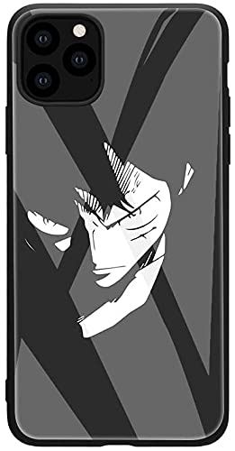 JOHN COOLL Anime Cartoon One Piece Luffy Zoro Funda de vidrio templado para iPhone 7 8 SE 2020 12 Pro Max Mini sombrero de paja manga cubierta (6, iPhone 7 8/SE 2020)