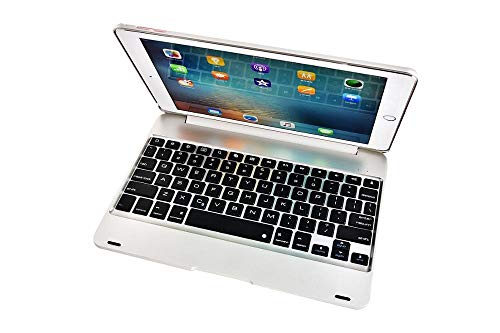 Keyboard Case For ipad 10.2/10.5 Wireless Bluetooth Keyboard Foldable Stand Case ABS Cover For iPad Air 1/2 9.7-Silver_iPad 10.2 2019