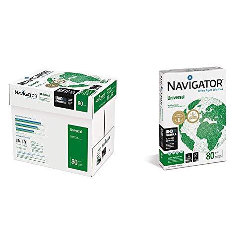Navigator Universal Carta Premium Per Ufficio, Formato A4, 80 Gr, Confezione Da 5 Risme Da 500 Fogli & The Navigator Company Carta Per Fotocopiatrice E Multiuso, A3, Gr. 80