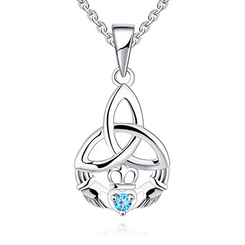 JO WISDOM 925 Sterling Silver Irish Celtic Heart Claddagh Pendant Necklace with Birthstones (blue cz)
