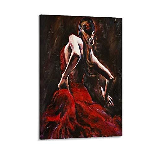 ASDUN Peinture décorative sur toile pour salon, chambre à coucher Motif danseuse de flamenco 50 x 75 cm