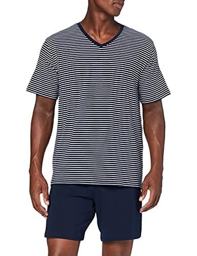 Schiesser Herren Kurz V-Ausschnitt Pyjamaset Zweiteiliger Schlafanzug, Admiral, 56
