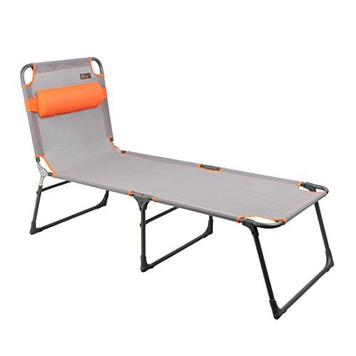 PORTAL Adjustable Folding Reclining Lounger Beach Bed Cot, Grey, Set Up Size: 76' (L) X 25' (W) X 15.75' (H)