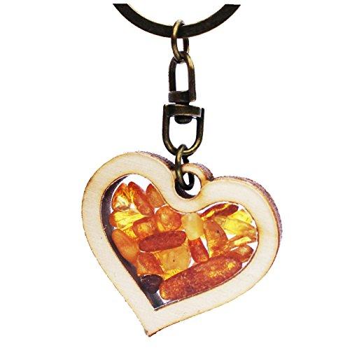 Amber Paradise Llavero hecho a mano de ámbar y madera, con forma...