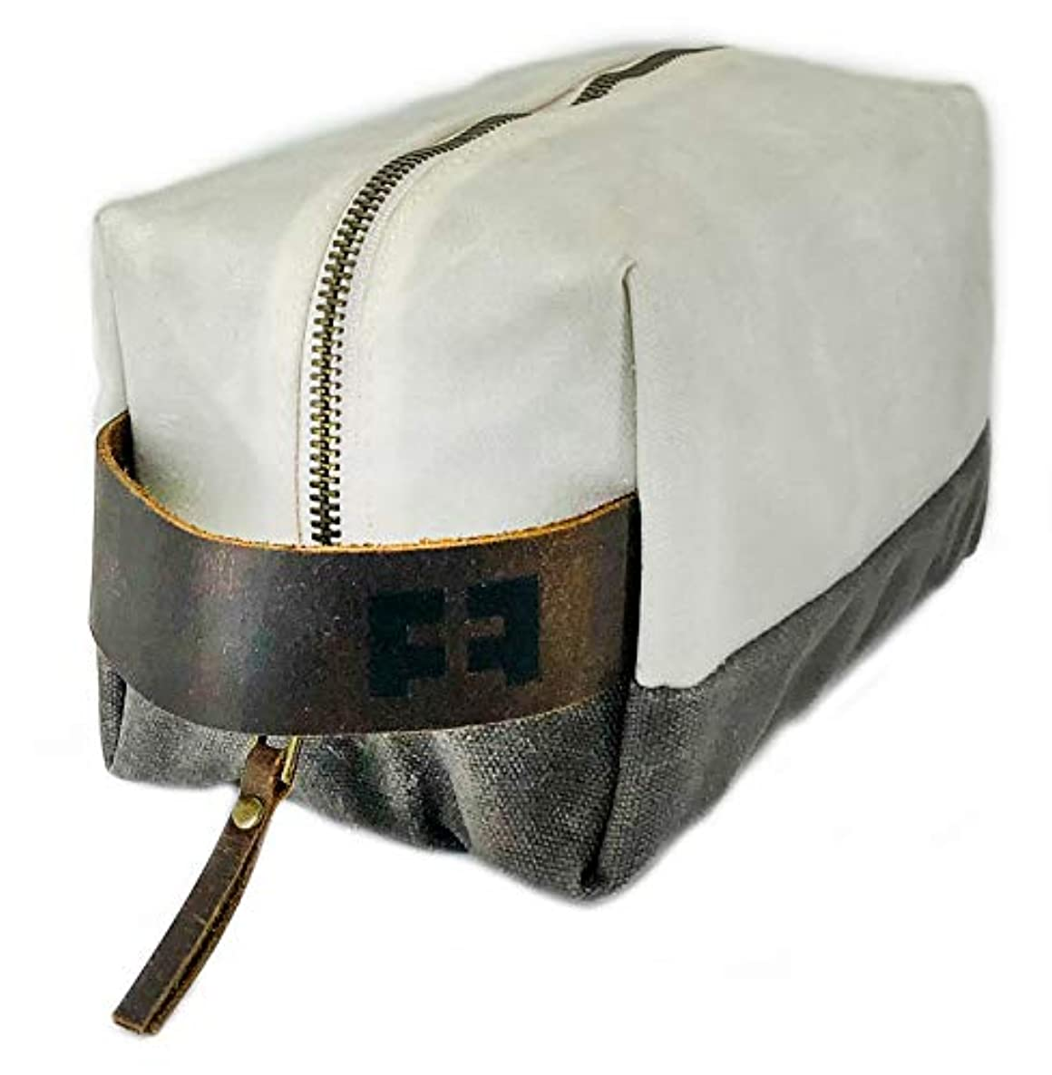 the DOPP KIT   durable waxed cotton canvas toiletry bag with leather handle (Snow)
