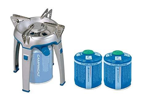 ALTIGASI Réchaud à gaz Bivouac Campingaz Puissance 2600 W avec Sac de Transport - Système Cartouche Amovible + 2 Cartouches à gaz CV300 de 240 g