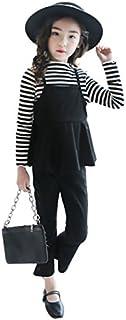 Burning Go 子供服 女の子 スーツ トップス シャツ ズボン ストライプ 長袖 フォマール 2点セット 春秋 偽二枚