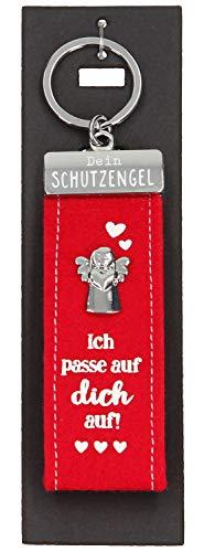 Depesche 10890.006 Schlüsselanhänger aus Filz, mit Schutzengel und Aufschrift, Ich Passe auf Dich auf, rot, ca. 15 cm