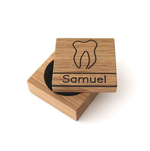 Zahndose für Milchzähne aus Holz mit Namen Milchzahndose mit Gravur Zahnbox aus Holz Zahnfee Box Holzdose Geschenk Einschulung zur Geburt Taufgeschenk personalisiert Baby Jungen Mädchen, Eiche