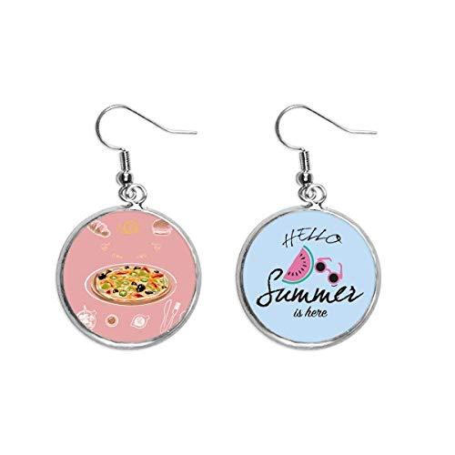 Surtido Italia Tomate Foods Pizza Ear Drop Summer Sandía Pendiente Wear