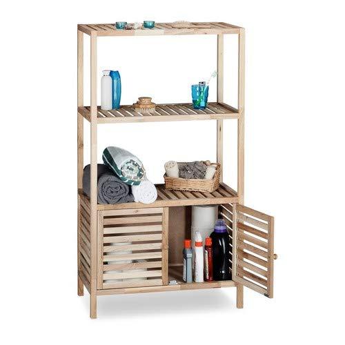 Relaxdays Badschrank Holz mit 4 Ablagen, breites Badregal, Walnuss Regal Bad u. Küche, HxBxT: 123 x 68 x 36 cm, natur