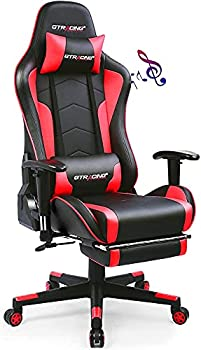 GTRACING Gaming Chair with Footrest Speakers Video Game Chair Bluetooth Music Heavy Duty Ergonomic Computer Office Desk Chair Red