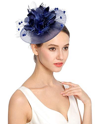 Z&X Fascinator mit Haarband Clip Cocktail Tee Party Feder Floral Pillbox Hut Schwarz -  Blau -  Einheitsgröße
