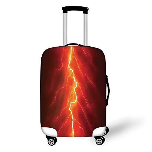 Reizen Bagage Cover koffer beschermer, ster, schattig meisje op ladder opknoping een ster in de nacht hemel met halve maan Cartoon foto, Geel Blauw, voor reizen