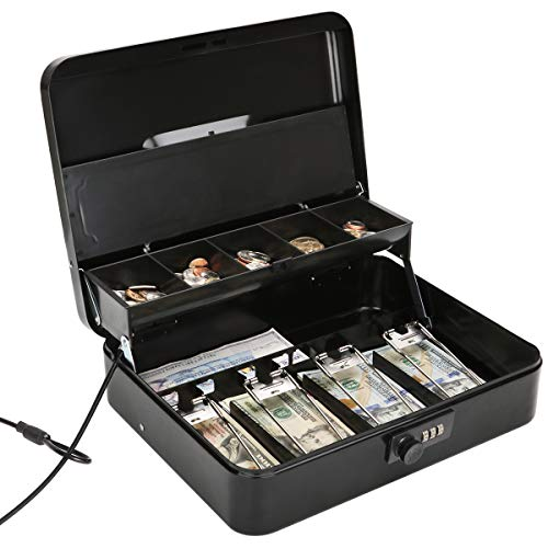 Jssmst Large Locking Cash Box with Money Tray, Metal Money Box with Combination Lock Cash Safe with Security Cable, Black, SM-CB02302XL