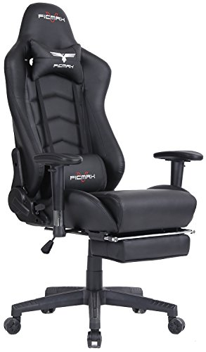Ficmax Ergonomic High-Back Large Size Office Desk Chair Swivel Black PC Gaming Chair with Lumbar Massage Support and Retractible Footrest