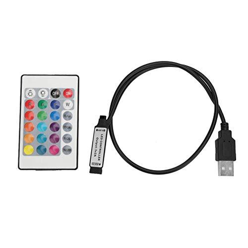 WolfGo Control Remoto - 5-24V 24 Teclas RGB Tira de luz LED Control Remoto inalámbrico USB 6A Efecto de lámpara Controlador IR(0.5m)