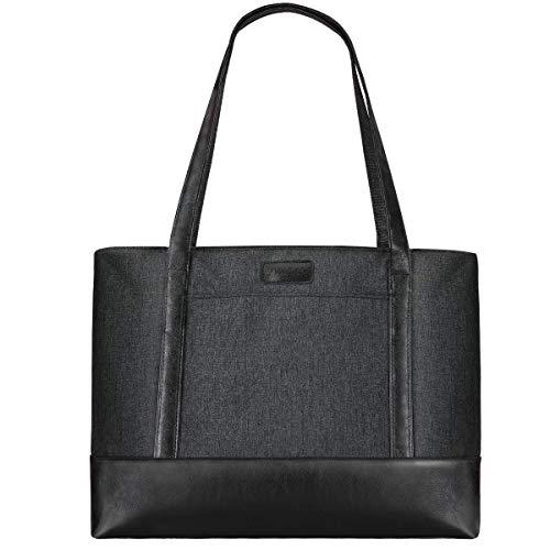 LIVACASA Laptoptasche Damen Wasserdicht Handtasche Laptop 15.6 Zoll Notebooktasche Leicht Umhängetasche Schopper Arbeit Aktentasche Business Tote Bag Schultertasche für Business Schule Einkauf Grau