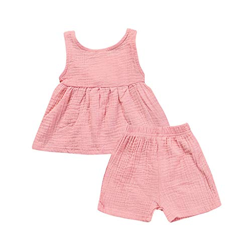 JUTOO 2 Stücke Set Kinder Baby Mädchen Sleeveless Backless Solides Kleid Tops + Shorts Set Outfit (Rosa,80)