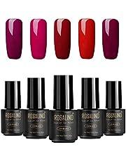 Rosalind gel-nagellack, Soak-Off-Lack, UV- och LED-rengöring, 7 ml, 5-pack (rottnye)