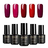 Juego de 5 esmaltes de uñas de gel de color rojo serie Soak Off, barniz de manicura y pedicura de salón, con luz LED UV, 7 ml