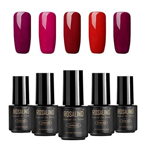 Rosalind Gel-Nagellack, Soak-Off-Lack, UV- und LED-Aushärtung, 7ml, 5er-Pack (Rottöne)