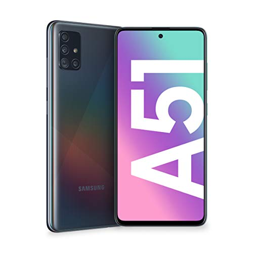 "Samsung Galaxy A51 Smartphone, Display 6.5"" Super AMOLED, 4 Fotocamere Posteriori, 128 GB Espandibili, RAM 4 GB, Batteria 4000 mAh, 4G, Dual Sim, Android 10, [Versione Italiana], Prism Crush Nero"