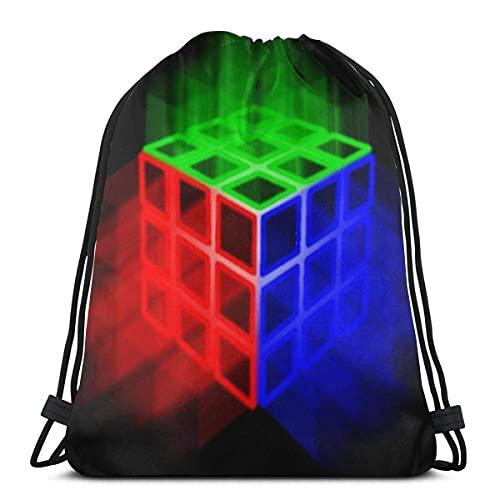 Lmtt Mochila Style3 del lazo del saco del gimnasio del bolso del deporte del cubo de Rubix que brilla intensamente Talla única