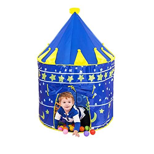 DQST Casa de Campaña para Niños Niñas, Tienda de Campaña para Niños Portátil Plegable y Transpirable, Casita para Niños Interior y Exterio(Azul) (Azul-Estrella)