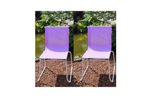 Gartenstuhl / Stapelstuhl Colorline Stahl weiß / Textil flieder