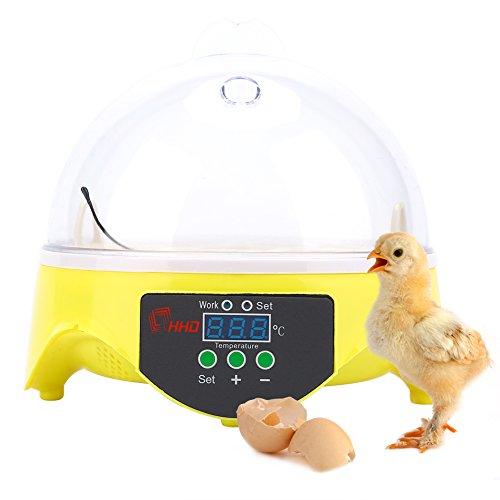 Cocoarm Brutmaschine Inkubator 7 Eier Mini Digital Inkubator Inkubationsgerät Eier Brutkasten Temperatur und Feuchtigkeitsregulierung für Hühner Ente Gans und Wachtel mit LED(7 Eier)