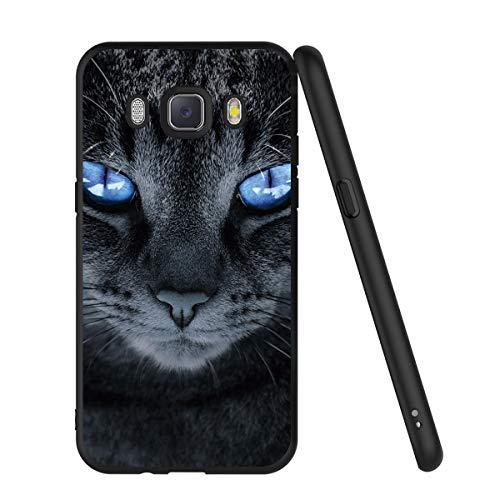 Pnakqil Samsung Galaxy J5 2016 Custodia, Cover Silicone Nero con Disegni 3d Pattern Ultra Slim TPU Morbido Antiurto Bumper Case Protettiva per Samsung Galaxy J5 2016, Gatto Dagli Occhi Blu
