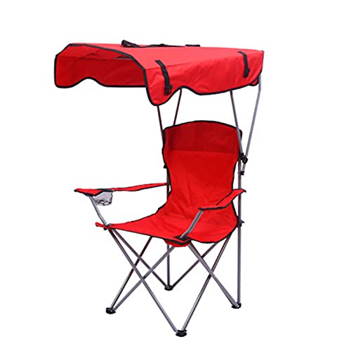 Silla de campamento con dosel plegable, silla reclinable para camping, resistente, plegable con toldo de sombra, silla ligera con soporte para tazas, color rojo