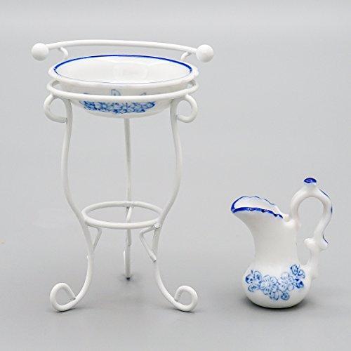 Odoria 1:12 Lavabo miniatura con estante y jarra accesorios de baño casa de muñecas
