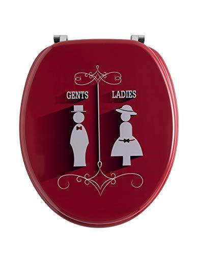 PEGANE Abattant Trendy Line Gents Ladies en Bois, Dim : Largeur 37,5 x Longueur 42 cm